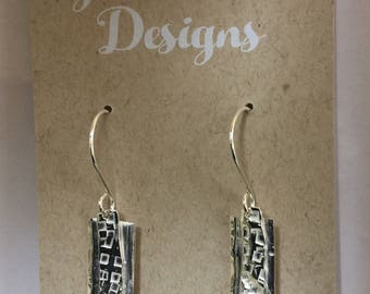 Handcrafted Sterling Silver, Art deco Inspired rectangle textured Earrings.  Abstract-Modern-Minimalist-Goes with Everything