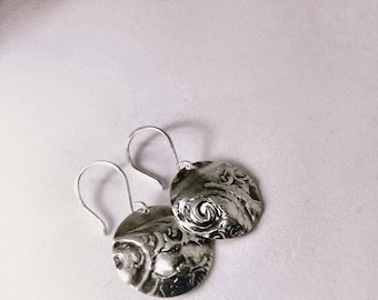 Handcrafted Sterling Silver Vintage Inspired textured Earrings.  Abstract-Modern-Minimalist-Goes with Everything
