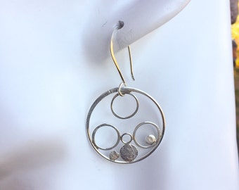 Handcrafted Sterling Silver Circle Hoop Earrings Abstract-Modern-Minimalist-Goes with Everything