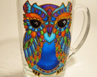 Owl Mug  Woodland Mug Espresso Cup Owl Coffee Mug Colorful Owl Owl Mug for Her Painted Glass Mug Coffee Mug Owl Gifts Mosaic Owl Tea Mug