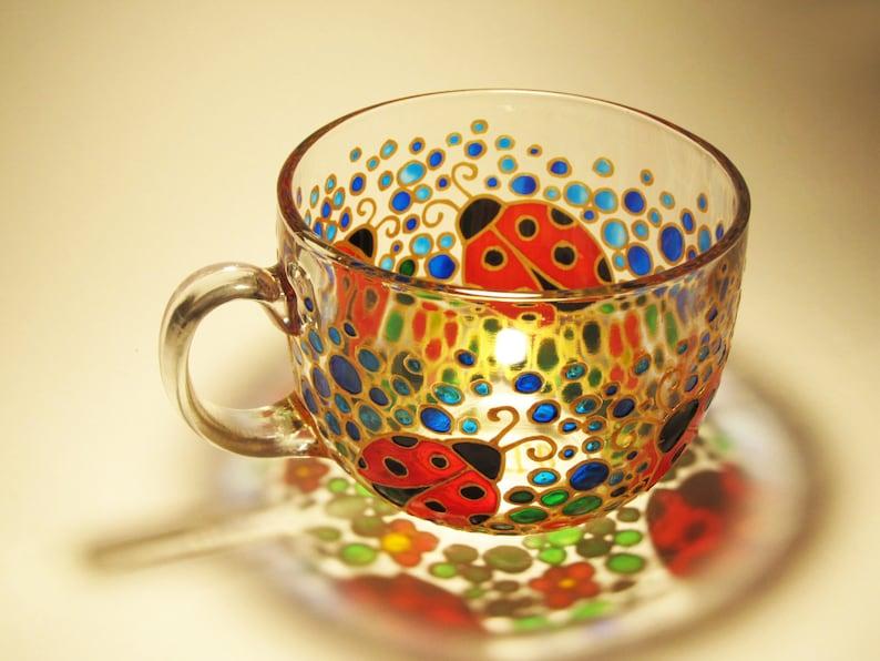 d2ee282bfb762 Coccinelle café tasse à la main peint Mug mosaïque Mug arc en