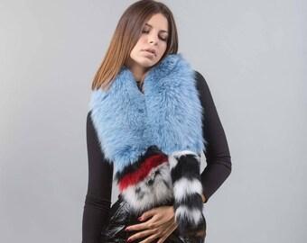 116b07191ee57 Sky Blue Fox Fur Scarf, Scarf, Real Fur Scarf, Neckwearing, Fur Collar, Real  Fox Fur Pelts
