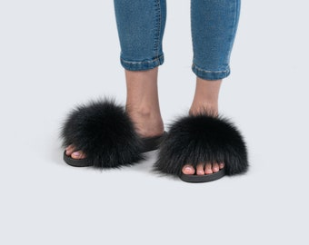 4d7cd7353 Real fox fur slides , Black Fluffy Slides, Rubber Fur Sandals, Real Fox  Slippers, Fur Flip Flop , Fur Shoes
