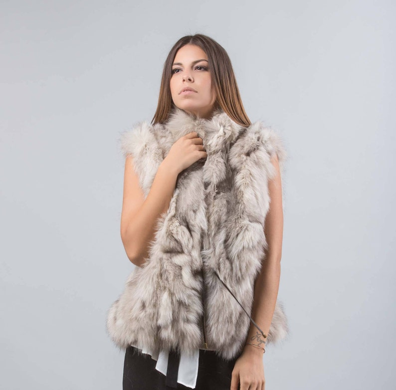 2659f84ee Beige Fox Fur Vest Short Style Fox Cropped Pelts With | Etsy