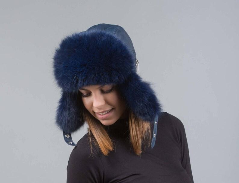 772d5d5d9 Blue fox fur trapper hat, ushanka hat , russian fur hat, fox fur, fur hat,  long hair fox fur, winter hat, cossack hat, trapper hat