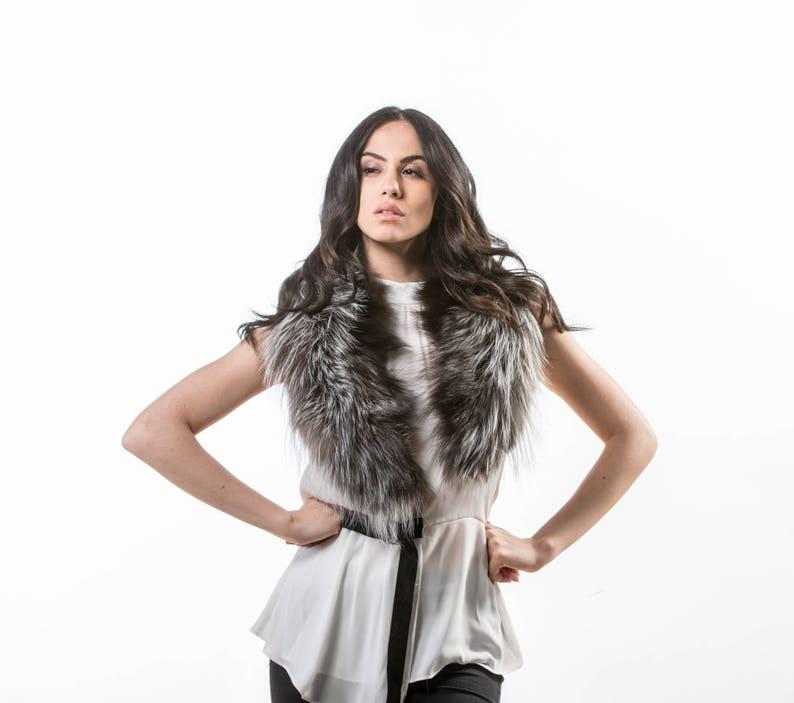 124235024203 Silver Fox Fur Collar Real Fox Fur Neckwearing Fur Shawl