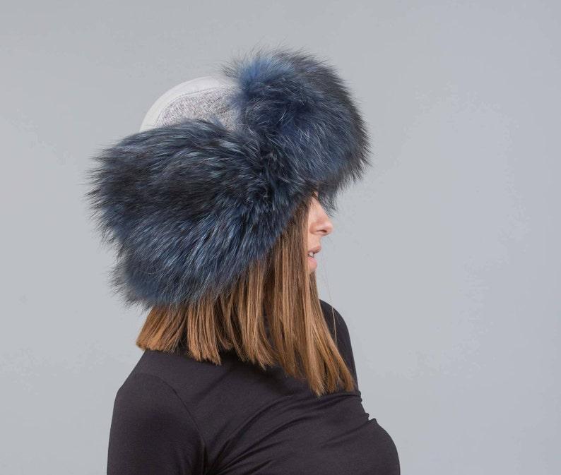 99a8dbc53bd21 Gray Fur Hat Trapper With Blue Fox ushanka hat russian fur