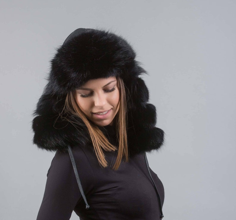 cf42af747ad75 Real fox fur trapper hat ushanka hat russian fur hatblack