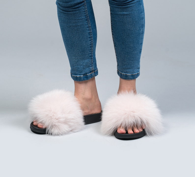 990e33952bd2 Light Pink Fox Fur Slides Fluffy Slides Rubber Fur Sandals