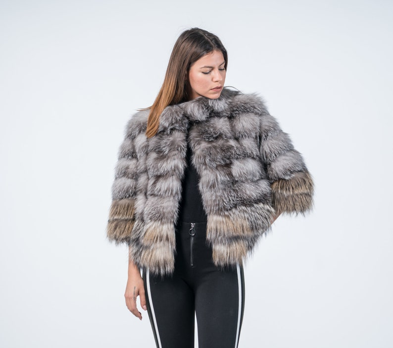 e72f8f57d69 Blue Frost Short Fox Fur Coat Real Fur Fox Coat Fur Coat