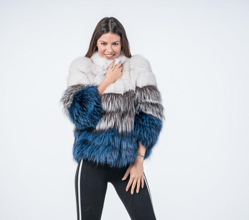 61c01f2f00 Tricolor Fox Fur Jacket Real Fur Fox Jacket Fur Jacket | Etsy