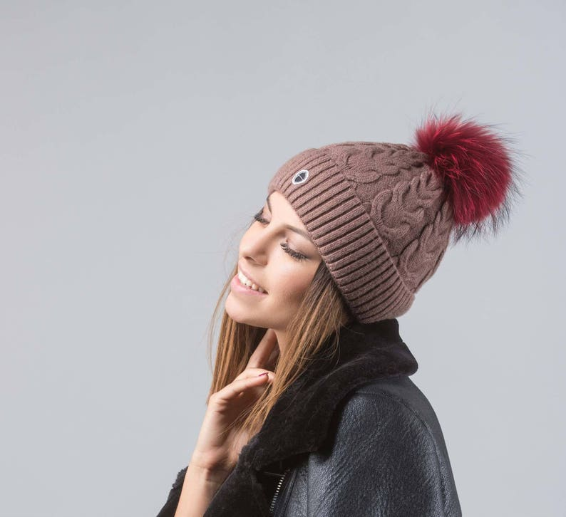 9835dd660a5 Brown Beanie With Bordeaux Fur Pom Pom Real Fur Beanie Real