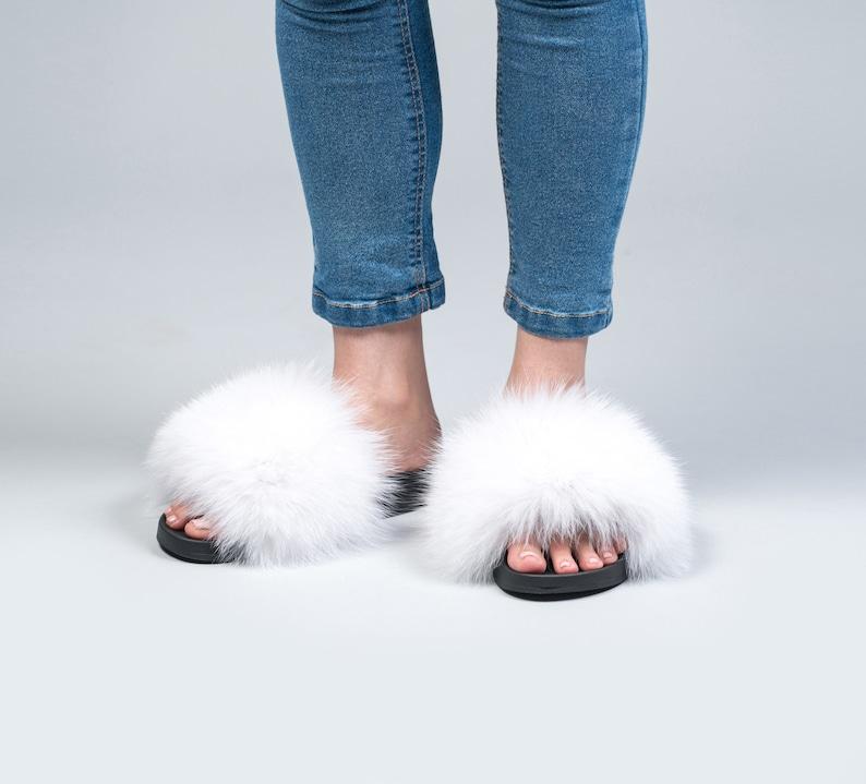 41f476319775 White Fox Fur Slides Fluffy Slides Rubber Fur Sandals Real