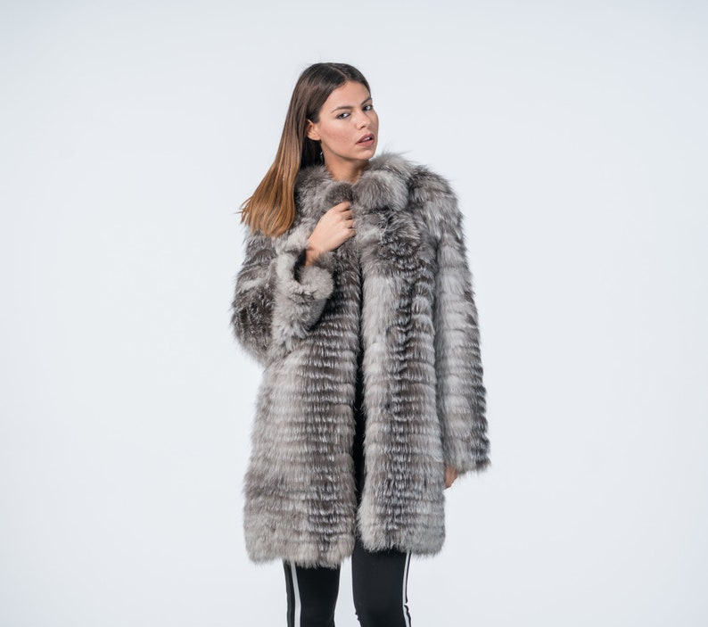a51fbf5169 Blue Frost Fox Fur Jacket Real Fur Fox Jacket Fur Jacket | Etsy