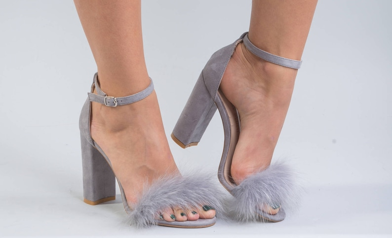 467e3c8e233 Grey Fox Fur Heels Fur Shoes Real Fur Heels Real Fur Heels