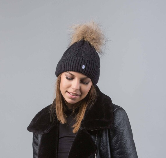 f6e2f6ccc7f Black Beanie With Raccoon Fur Pom Pom Real Fur Beanie