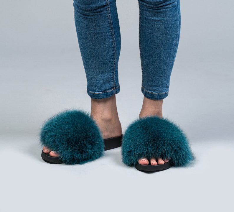 f21d588c7589 Cyan Fox Fur Slides Fluffy Slides Rubber Fur Sandals Real