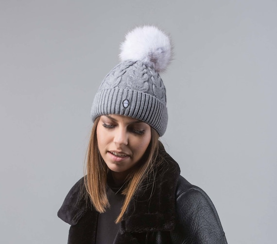 Grey Beanie With Ice Fox Fur Pom Pom Real Fur Beanie Real  f2ebf785ad0e