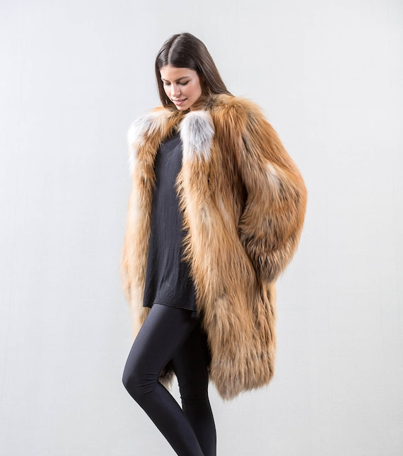 Echter Kaninchenfell-Kapuzenpullover für Damen 75cm lange Weste Vintage