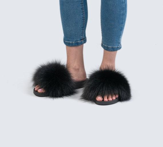 Real fox fur slides Black Fluffy Slides