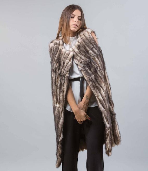 Faded Black Mink Fur Vest, Long Style, With Pockets, Jacket, Real Mink Fur Vest, Genuine Fur
