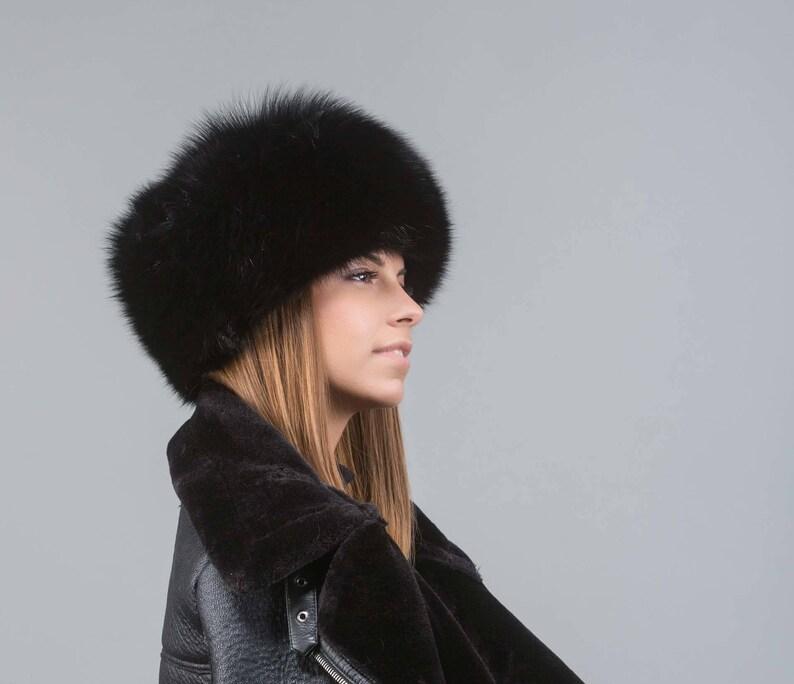 Black fox fur hat cossack hat real fox fur hat ushanka  b79ba3191af