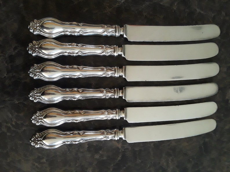 1906 Chatsworth alias Chalon Silverplate Dinner Knives Qty.6 No Monogram