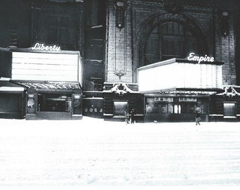 NYC, Liberty & Empire Theaters in snowstorm of 1996.  An Original Photo Art Card.