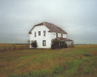 Iowa, Abandoned Farmhouse, 2013.  An Original Photo Art Card.