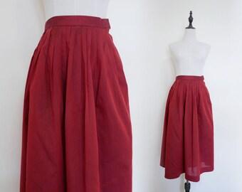 Red High Waist Pleated A-Line Vintage Midi Women Skirt