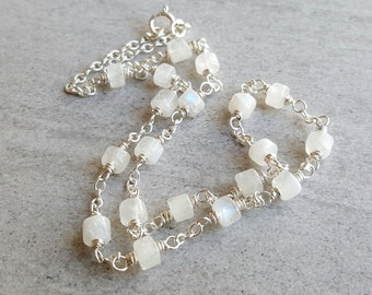 Layering Necklace Everyday Moonstone Rosary Necklace Beaded Chain Necklace Wire Wrapped Moonstone Long Simple Necklace Gemstone Choker