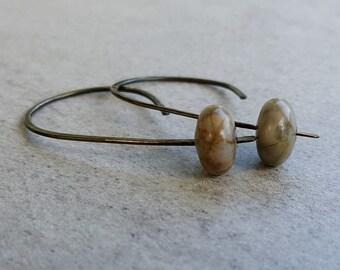 Picasso Jasper Earrings, handmade silver jewelry, bohemian earthy gray stones with tan, simple everyday earrings, boho rustic earrings