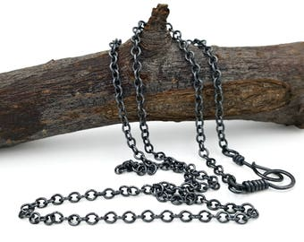 Sterling Silver Oxidized Chain, Father's Day gift, gunmetal gray necklace, medium weight man or woman chain, rustic earthy men's jewelry