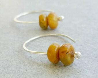 Natural Stone Earrings, sterling silver minimalist earrings, Crazy Lace Agate, boho rustic earrings, earthy stones, mustard yellow stones