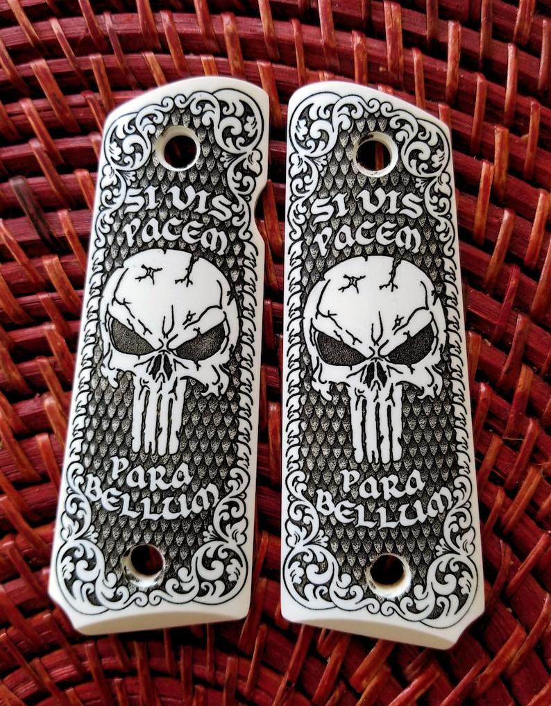 Colt 1911 custom engraved ivory scrimshaw grips Scroll Skull Para Bellum  Checkered