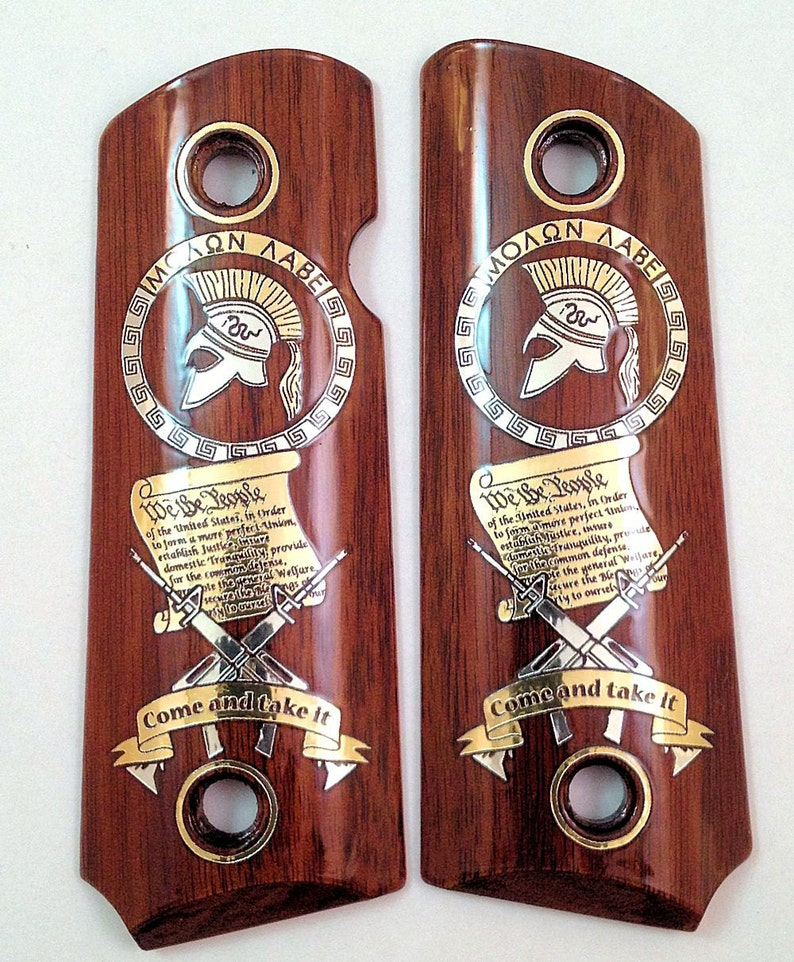Compact 1911 custom engraved wood pistol grips gold silver MOLON LABE 2nd  Amendment