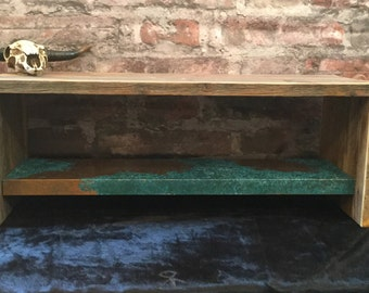 Reclaimed barn wood coffee table with copper