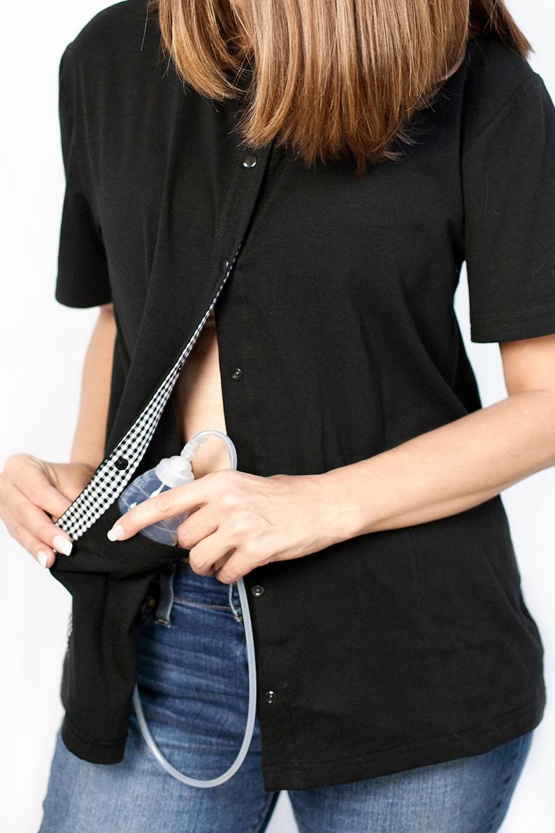 f4f3285c Breast Cancer Mastectomy Shirt w/ 4 Drain Pockets Black | Etsy