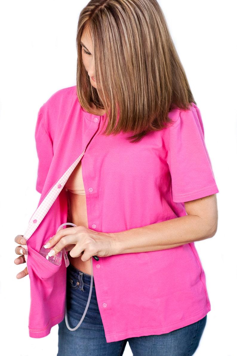 b72ffa8e Pink Breast Cancer Mastectomy Shirt w/ 4 Drain Pockets | Etsy