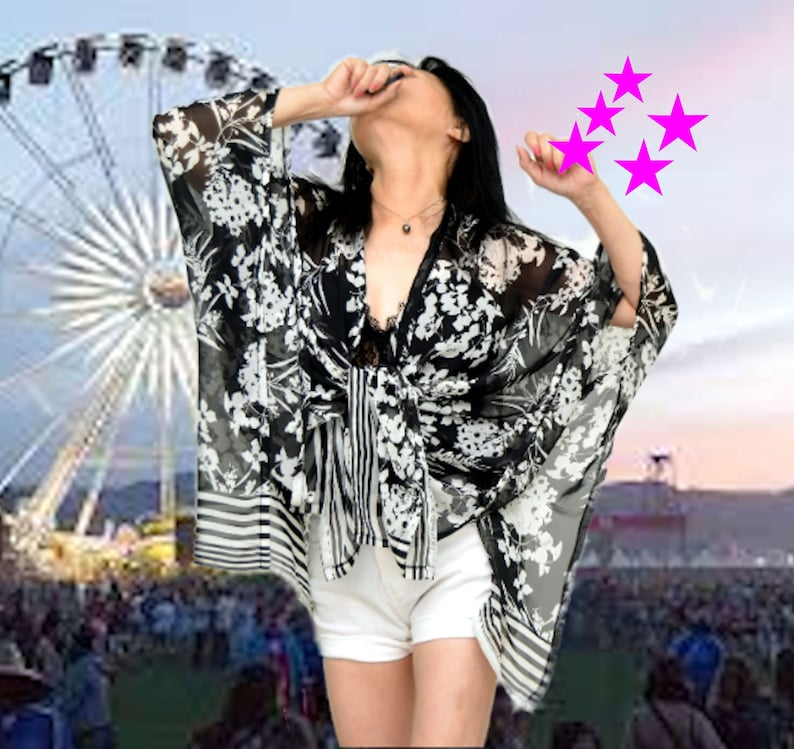 7798cefab250 Black white cardigan spring poncho music Festival robe