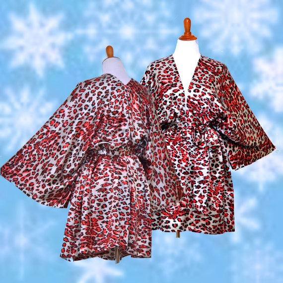 size Etsy red plug print cheetah robe Satin Leopard robe BnqfpOwt