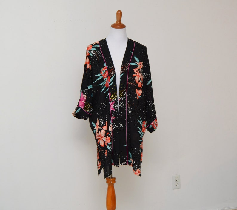 aa2751d8b7e0 Hot pink floral robe black floral kimono mini floral   Etsy