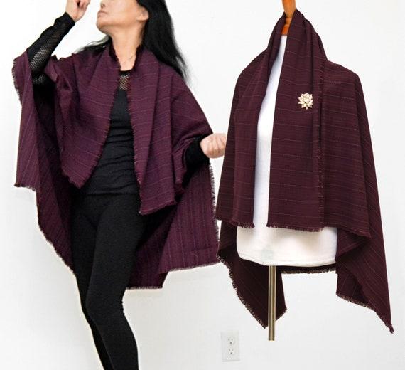 fringe trims shawl maroon lady poncho burgundy cloak Blum  0ce40d238