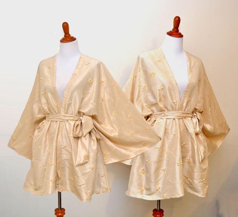 Embroidery robe champagne color robe plus size kimono  69a5570b6