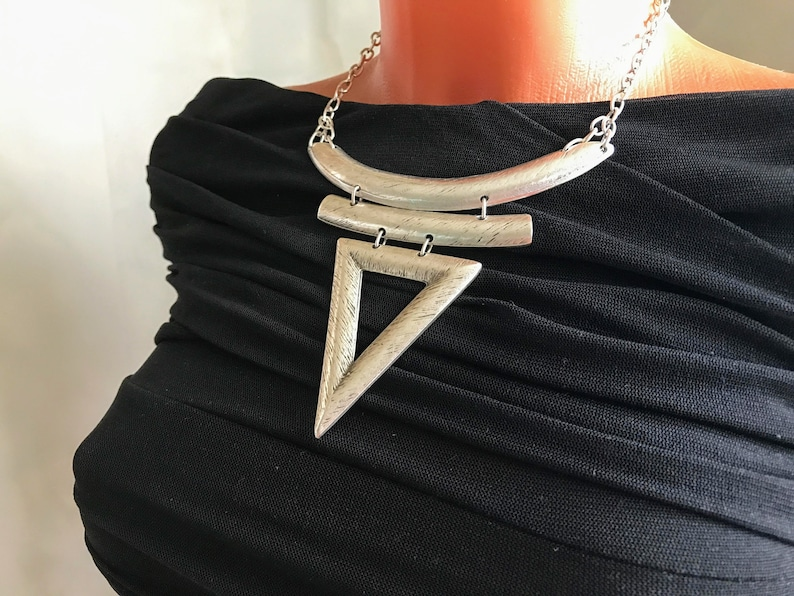 Ethnic Art deco antique metal chunky necklace Large statement sterling silver boho necklace Hippie tribal medieval jewelry Bihemian