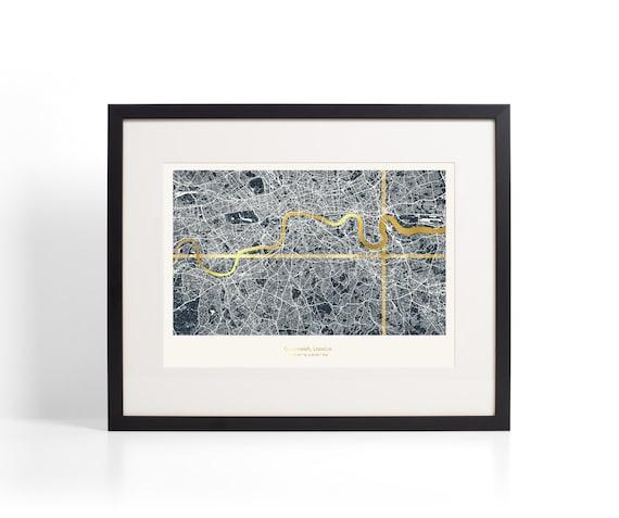 Framed Custom London Coordinates Map Dark Background | Etsy