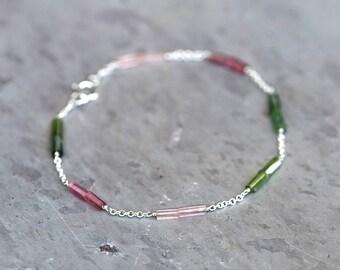 Watermelon Tourmaline Sterling Silver Chain Bracelet