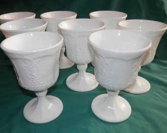 8 piece set Milk Glass  Wine/ Water Goblets