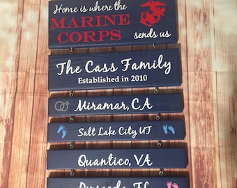 Military Home Sign Marine Corps Navy Army Military Family Custom Military Sign