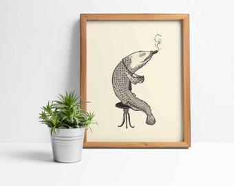 Smoking Fish Print Art Wall Poster Decor Illustration Pointillism